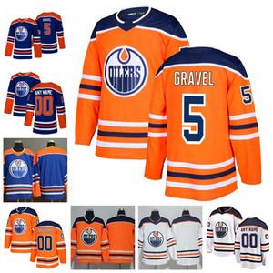 2019 Personalice Kevin Gravel Edmonton Oilers Stitched Jerseys Camisetas azules alternativas # 5 Kevin Gravel Hockey Jerseys S-XXXL
