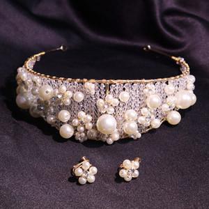 Wedding Bridal Pearls Crown Tiara Earrings Jewelry Set Crystal Rhinestone Hair Accessories Jewelry Headpiece Korean Headdress Fashion Bling