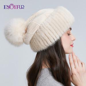 ENJOYFUR de invierno de punto gorros de lana para las tapas de estilo piel de las mujeres de las gorritas tejidas pompón holgados caliente de la moda para los jóvenes