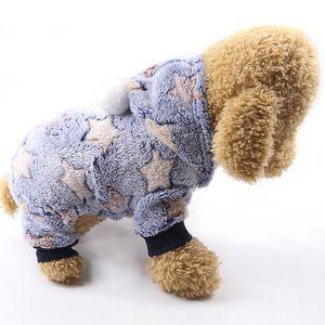 Perro ropa pijama polar mono del perro ropa de invierno Cuatro piernas calientes del traje de la estrella Ropa para mascotas traje de perro pequeño prendas de vestir 30