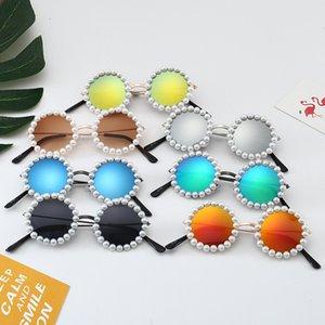 Girls Round Sunglasses Kids Mental Frame with Pearl Glasses Anti-UV Sun Glasses for Girls Eyewear Children Oculos UV400 Gift