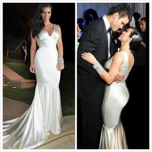 Kim Kardashian Elbiseler Seksi Mermaid Uzun Örgün Abiye Kat Uzunluk V Boyun Elastik Saten Ucuz Kadınlar Için Parti Törenlerinde Ünlü