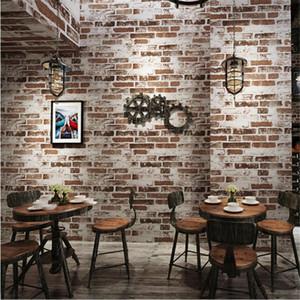 nova nostalgia retro 3D tijolos de imitação tridimensional wallpaper restaurante café bar café net tijolo vermelho wallpaper