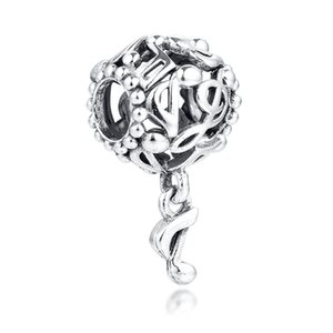 New real 925 Sterling Silver Beads céu aberto Música Notas Dangle Pingente encanto Beads Fit Mulheres presente European Charm Bracelet Jóias DIY
