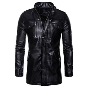 Men Leather Jacket Autumn&Winter Biker Motorcycle Zipper Outwear Coat Pilot Jackets Men's Stand Collar Top Jacket Coat 8.13