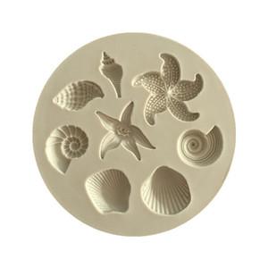 Stampo per torta di stelle marine Conch di mare biologico Conchiglie di mare Torta al cioccolato Stampo in silicone Stampo in cioccolato fai da te Utensili da cucina a forma di torta