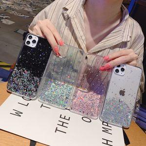 Brillo Bling Lentejuelas cajas del teléfono de iPhone SE 2020 11 Pro Max XS XR X 8 7 6 6S Shining Star Plus Transparencia suave cubierta de epoxi