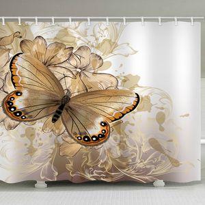 Бабочка душ Шторы полиэстер Водонепроницаемый занавески для душа ванны занавес занавес ванной комнаты T200102