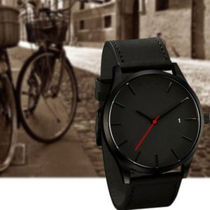 Men's Fashion Sport Stainless Steel Case Leather Wrist Watch Fashion Hot Solid Trendy Watches Accessaries