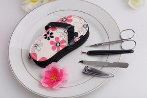Pink Polka Dot Flip flop Pedicure Set Novelty Wedding Bridal Shower Party Gift Valentine's Day Favors Children Kids Present