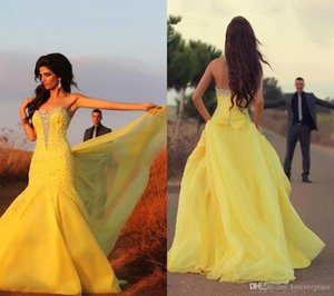 2019 New Yellow African Traditional Prom Dress Cheap Sweetheart Formal Holidays Wear Graduation Evening Party Gown Custom Made Plus Size