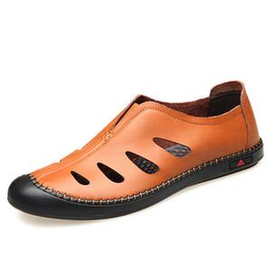 QFFAZ 2020 Nuevo Hombre zapatos de cuero genuino de los hombres sandalias verano de los hombres zapatos sandalias de la playa hombre de la manera al aire libre zapatillas de deporte casuales