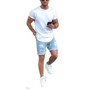 Yaz Erkek Jeans Açık Mavi Kısa Jeans Kot Şort Sokak Stili Tasarım Fermuar Kot Şort Pantolon Yıkanmış