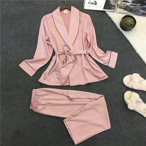 Femmes en satin sexy peignoir femmes 2017 Pyjama Régl.nouv été dentelle chemise de nuit Ensemble de nuit Pyjama Pijama Feminino pyjama pour les femmes Pijama