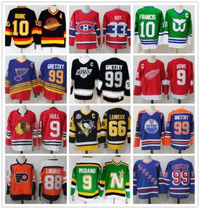 الرجعية الفانيلة 9 غوردي هو HULL 99 اين Gretzky 66 ماريو يميو ROY LINDROS أور فرانسيس Modano بوري الهوكي جيرسي