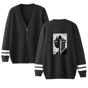 Neck Pullover Mode-Männer Pullover Pop Rapper Herren Designer Pullover Cardigan Hip Hop-Buchstabe gedrucktes lose Knopf Langärmlig V