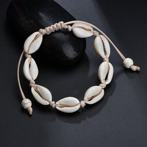 VSCO menina Shell Braceletes Bohemian Handmade Seashell trançado ajustável corda Bangles Mulheres Mão Knit bracelete frisado Beach jóias