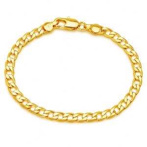 (398B) (19 cm x 5 mm) 1: 1 24K or jaune Bracelets Figaro Hommes Femmes Bijoux Fashion