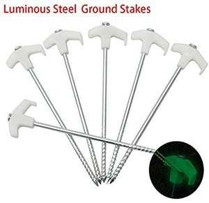 10 pcs Non-Rust Glow-in-The-Dark Canopy Tent Stakes - 25cm 10