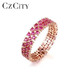 CZCITY Genuino 925 anillos de plata esterlina Eternity for Women compromiso de la boda joyería fina Ronda piedra preciosa del Topaz Anillos SR0299