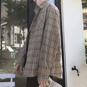 BXyichen Hong Kong Art-Plaid-Langarmhemd koreanische trendy hübsch Jacke Japanisch ruffian gut aussehendes loses Hemd