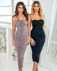 Vestido Designer Vestidos Sexy Mulheres Strapless Partido Moda slim Sólido Ruched Bodycon Dresses New Mulheres Verão