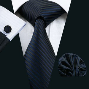 Mens Tie Dark Striped 100% Silk Classic Jacquard Woven Barry.Wang Tie Hanky Cufflink Set For Men Formal Wedding Party
