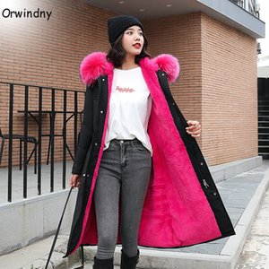 Orwindny pelliccia con cappuccio Donne giacca cappotto caldo di spessore Giacca donne più il formato S-3XL cappotto lungo parka Donna Casaco Feminina