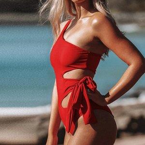 2020 원피스 수영복 여성 패딩 수영복 붕대 컷 아웃 Mnokini 수영복 바디 수트 플러스 사이즈 수영복 여름 비치웨어 비키니 XL