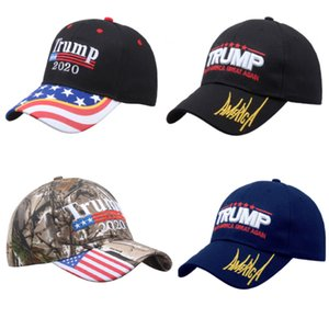 Donald Trump Hats 2020 Keep America Great Camouflage USA Presidential Flag Party Hat Gorra de béisbol con bordado 3D WX9-1567