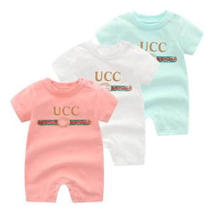 Cartas de lujo ropa 3 colores del verano del bebé del mameluco de la manga corta Niñas Niños mono 100% algodón niño recién nacido Niños ropa 0-24M