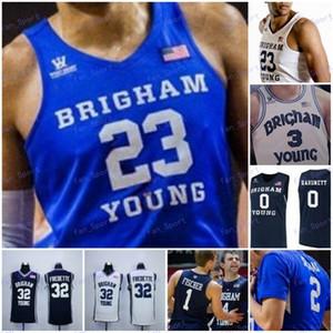 BYU Cougars 2020 personnalisés Basketball Tous Nombre Nom Blanc Bleu Marine 23 Yoeli Childs 30 TJ Haws 32 Jimmer Fredette NCAA Jersey 4XL