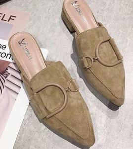 Moda feminina verão desgaste chinelos baotou primavera nova fivela fivela casual com sandálias de salto baixo meia arrastando ponta