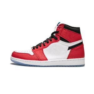 Origine Histoire Spiderman TOP Factory Version 1 blanc rouge Chaussures de basketball formateurs pour hommes Nouveau 2018 Baskets en cuir véritable avec boîte