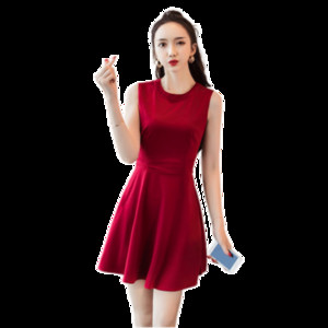 Small black dress women 2020 new summer cool wind minimalist slim Aline skirt careful machine waist black dress