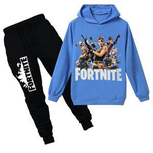 Teenmiro Oyun Battle Royale Çocuk Giyim Seti Boys Kapşonlu Sweatshirt Pantolon Kız Bahar Spor Giyim Giyim Çocuk Fortnite Nedensel Eşofman
