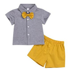 Family Matching Outfits Kids Designer Clothes Brother Sister Suits Baby Summer Short Sleeve Bowtie Tops T-shirts Shorts Pants Headband A5468
