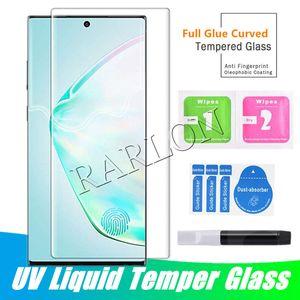 UV Tam Tutkal Vaka Dostu Temperli Cam Ekran Koruyucu Samsung S21 Ultra Not için 20 8 9 S20 Artı S10 S9 S8 S7EDGE Huawei Mate 40 Pro