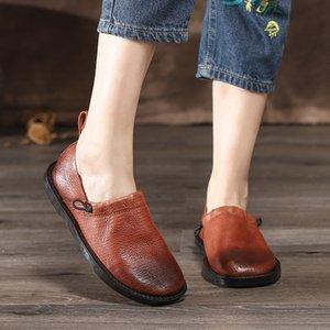 VALLU hecho a mano de las mujeres zapatos de los planos del ballet del cuero auténtico zapatos planos ocasionales cómodos Mujer Calzado Mocasines