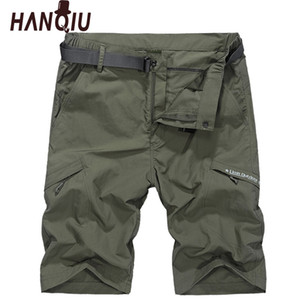 HANQIU Su Geçirmez Askeri Kargo Şort Erkekler Yaz Hızlı Kuru Gevşek Erkek Kısa Pantolon Ince Malzeme Erkek Kısa Masculino Kemer Ile