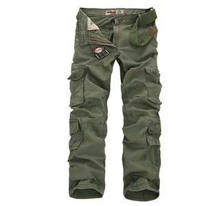 2020 Mens Sports Cargo Pants Multi-pockets Baggy Men Cotton Pants Casual Overalls Army Oustdoor Tactical Trousers No Belts 46