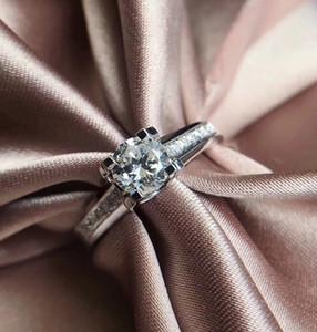 Micro-inlay Group Setting Bull Head Design 9K, 14K, 18K Ouro 1Ct Moda Noivado Casamento Moissanite Anel de Diamante Banda Com Certificado