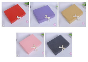 50pcs Colored Kraft Paper Box For Gift Cardboard Box With Ribbon Large Wedding Candy Gift Cake Package