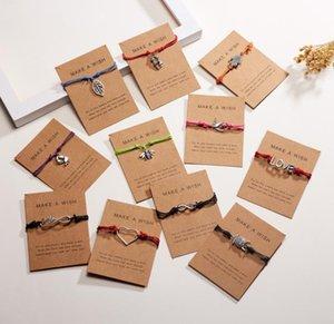 amor caliente tarjeta del estilo de la pulsera pendientes en forma de corazón de oro puro bendiga tarjeta de tejer adornos pulsera Pide un deseo