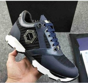 PHILIPP PLEIN  Hommes cuir sneakers style punk Runner, PP Chaussures Casual décorées avec Iconic Crâne en métal pour le temps libre Taille 38-45 mnb0003