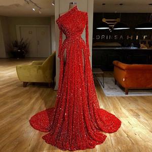 Reflektierende rote Paillettenabendparty-Kleider 2020 lange Ärmel Ruhnierte High Split Formale Partei Bodenlänge Prom Kleider