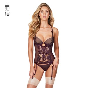 INS Red Language European and American New Fishing Net Corset One-Piece Steel Ring Mold Cup Chest Sexy Garter Set Sexy Underwear Sale