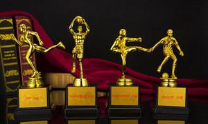 الراتنج كرة السلة الكأس الرياضية الكأس جائزة الطلاء الذهبي الحرفية تذكارية الرجل الصغير لكرة القدم كرة السلة التايكواندو المدى