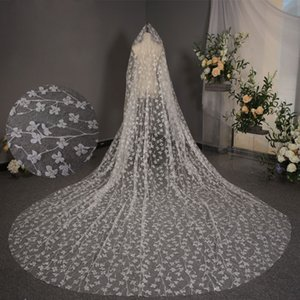 Hot Sale Flower Lace Wedding Veils 3.5M Long Cathedral Length Bridal Veil For Women Hair Accessories