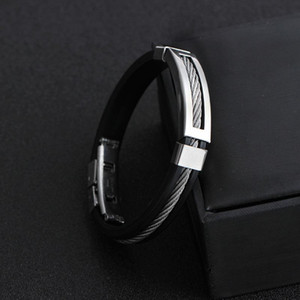 Pretty Bracelets Bangles Wristband Punk Design Black Silicone Bracelet Simple Rubber Charm Pulsera Hombre Bracelet Bangle